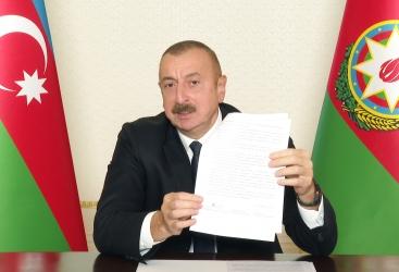 Azərbaycan Prezidenti: Bu bəyanat uzun illər davam edən işğala son qoyur